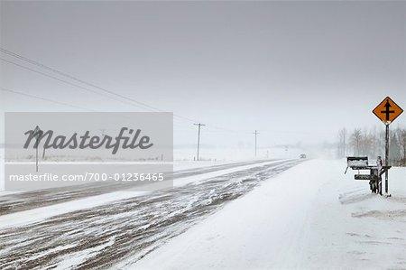 Snowy Road in Winter, Ontario, Canada