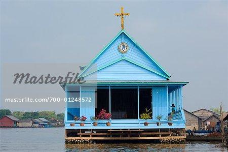 Church, Prek Toal Floating Village, Cambodia