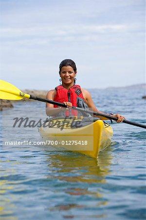 woman kayaking sea of cortez baja california mexico stock photo