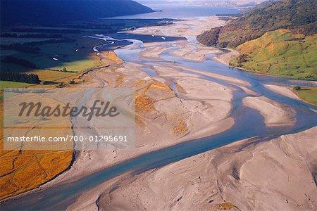 Makarosa River Flowing into Lake Wanaka, New Zealand