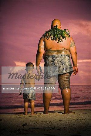 Father and Son on Beach, Upolu, Samoa