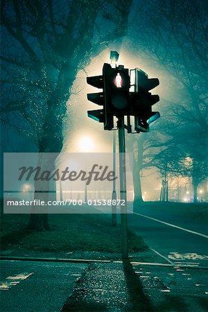 Traffic Light at Night, Edinburgh Midlothian, Scotland, UK