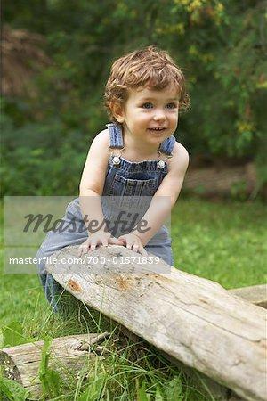 Little Boy on Log