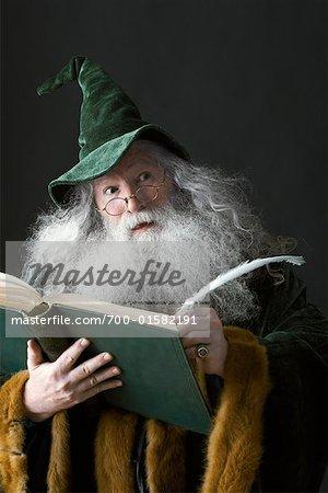 Wizard Writing in Book