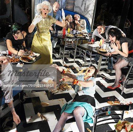 Chaotic Scene in Diner