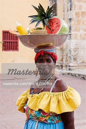 Portrait of Woman Selling Fruit, Cartagena, Columbia