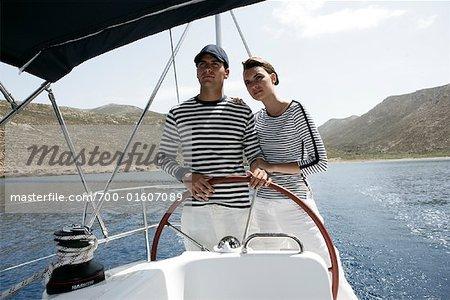 Couple Sailing, Dodecanese, Greece