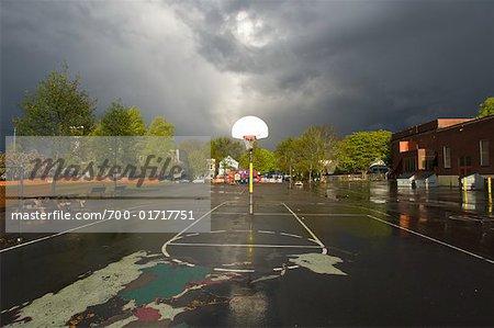 Elementary School Playground after Storm, Portland, Oregon