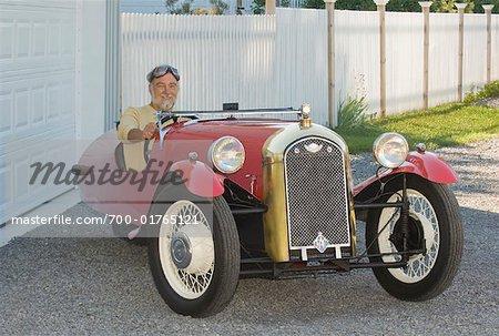 Man in 1930 Morgan Car