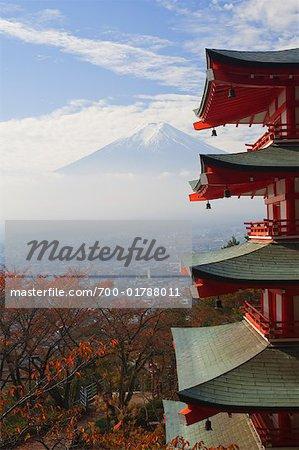 Temple at Shimoyoshida and Mount Fuji, Fujiyoshida, Chubu, Honsu, Japan