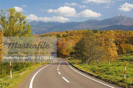 Road in Shiretoko National Park, Hokkaido, Japan