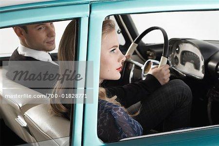 Couple in 1957 Dodge Regent