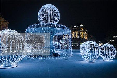 Christmas Decorations in City, Alte Oper, Frankfurt, Hessen, Germany - Stock Photo