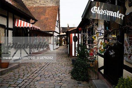 Cobblestone Road in Town Center, Nuremberg, Bavaria, Germany