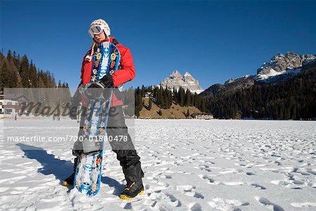 Woman Snowboarding, Tre Cime di Lavaredo, Misurina, Auronzo di Cadore, Belluno, Veneto, Italy