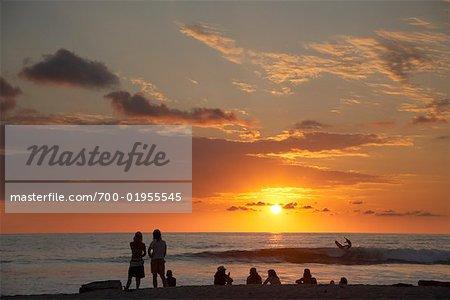 People on Beach Enjoying Sunset, Mal Pais, Puntarenas Province, Nicoya Peninsula, Costa Rica