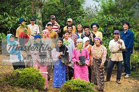 Portrait of Workers, Mandailing Estate Coffee Plantation, Sumatra, Indonesia