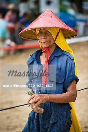 Portrait of Fisherman on Beach, Bungus Bay, Sumatra, Indonesia