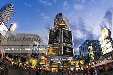 Eaton Centre at Dusk, Yonge-Dundas Square, Toronto, Ontario, Canada