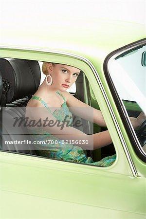 Woman Driving 1971 Renault 10