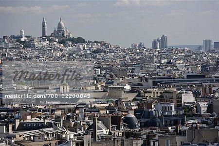 La Basilique du Sacre Coeur and Overview of Paris, Paris, France