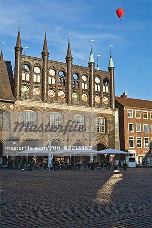 Town Hall in Kohlmarkt Square, Lubeck, Schleswig-Holstein, Germany