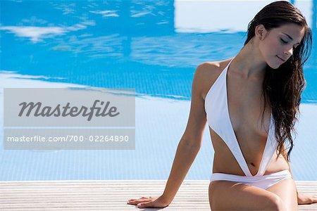 Woman Sitting on Edge of Swimming Pool
