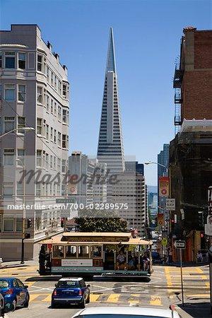 Street Car in Intersection, San Francisco, California, USA