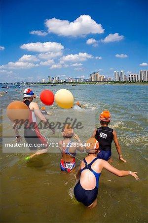 Swimming Contest in Han River, Seoul, South Korea
