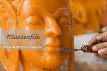 Hand Carving Wax Buddha Sculpture, Ubon Ratchantani, Thailand