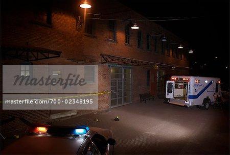 Police Car and Ambulance on Crime Scene, Toronto, Ontario, Canada