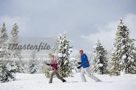 Couple Cross Country Skiing, Breckenridge, Colorado, USA