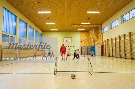 Kids Playing in School Gymnasium, Salzburger Land, Austria