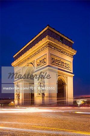 Arc de Triomphe at Night, Champs Elysees, Paris, France