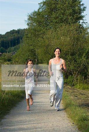 Mother and Daughter Jogging, Salzburg, Austria