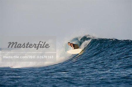 Surfer Lip Turning at Chickens Surf Break, North Male Atoll, Maldives