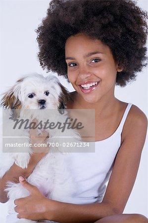 Teenage Girl and Dog