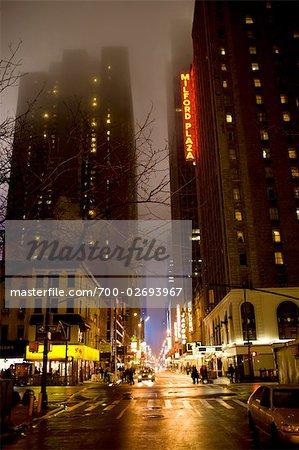 Rainy Street Scene, New York City, New York, USA