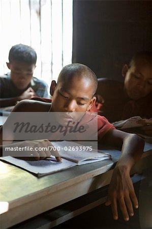 Buddhist Monks Studying Scripture, Myanmar