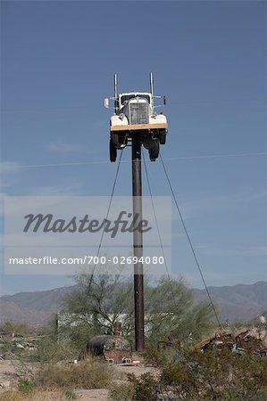 Truck on Pole, Yucca, Arizona, USA