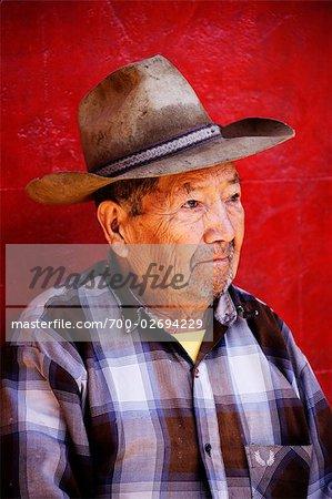 Portrait of Mexican Man, Pichataro, Michoacan, Mexico