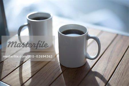 Coffee Mugs on Deck, Whistler, British Columbia, Canada
