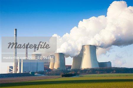 Coal Fired Power Station in Winter, Neurath, North Rhine-Westphalia, Germany