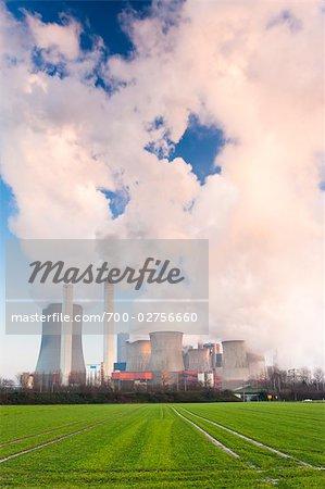 Coal Fired Power Station in Winter, Niederaussem, Bergheim, North Rhine-Westphalia, Germany