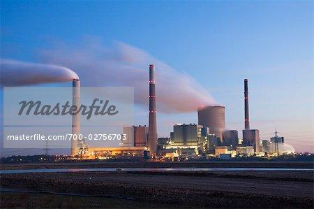 Steag Voerde Power Station at the Rhine at Dawn, Voerde, North Rhine-Westphalia, Germany