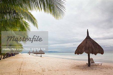 Beach Chairs and Umbrellas on Panglao Island, Bohol, Central Visayas Region, Visayas, Philippines