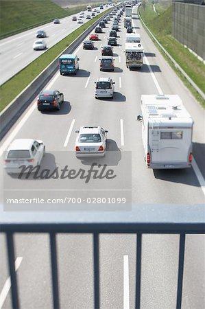 Traffic Travelling Underneath Bridge, Hamburg, Germany