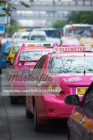 Colourful Taxis at Chatuchak Weekend Market, Bangkok, Thailand