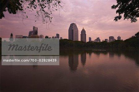 Skyline and Lumpini Park Lake, Lumpini Park, Bangkok, Thailand