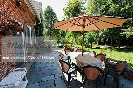 Patio in Backyard, Bedford, Quebec, Canada